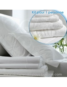 Location de linge (de lit et de bain) - kit 1 personne -pressing kleber biarritz -  - lavpro
