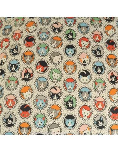 Coton motifs chats dans médaillons - Tissus Ameublement habillement - Tissus des Docks de la Negresse - Biarritz
