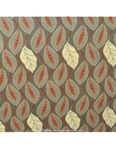 Coton motifs feuilles fond gris - Tissus Ameublement habillement - Tissus des Docks de la Negresse - Biarritz