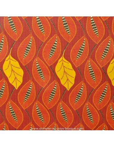 Coton rouge orangé motifs feuilles fond  - Tissus Ameublement habillement - Tissus des Docks de la Negresse - Biarritz