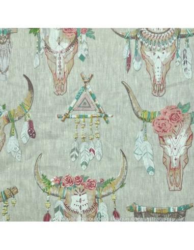 Lin imprimé motif indien cranes animaux chevaux plumes et fleurs fond beige -Tissus Ameublement - Tissus des Docks Biarritz