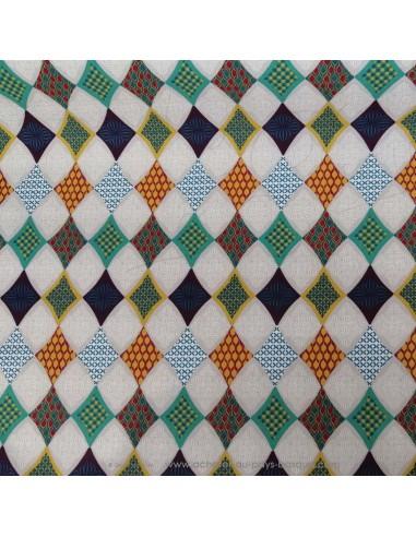 Coton motifs triangle arlequin - Tissus Ameublement habillement - Tissus des Docks de la Negresse - Biarritz