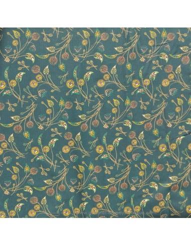 Coton motifs floraux fond vert foncé - Tissus Ameublement habillement - Tissus des Docks de la Negresse - Biarritz