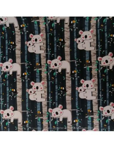 Coton motifs animaux koala et bébé perchés sur fond noir - Tissus Ameublement habillement - Tissus des Docks  Biarritz