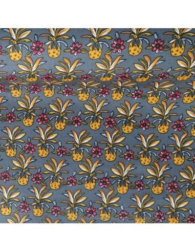 Coton imprimés fleurs et ananas colorées sur fond gris anthracite - Tissus Ameublement habillement - Tissus des Docks Biarritz
