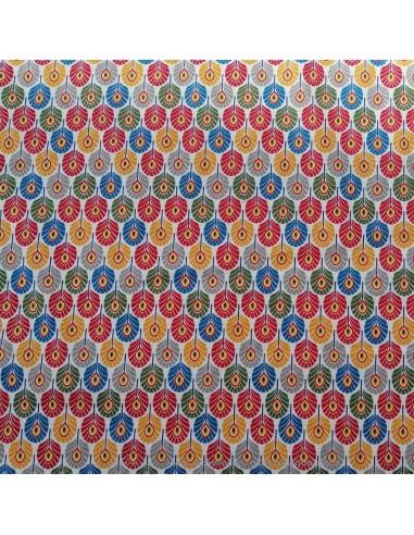 Coton imprimés multicolore plume de paon sur fond blanc - Tissus Ameublement habillement - Tissus des Docks  Biarritz