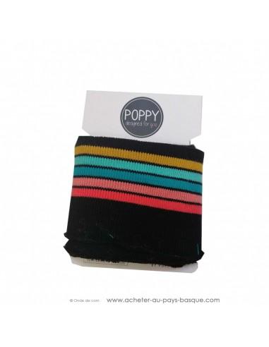 Poignets chevilles bord côte noir rayures multicolores - confection blouson pantalon - création textile - mercerie biarritz