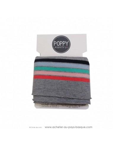 Poignets chevilles bord côte gris rayures multicolores - confection blouson pantalon - création textile - mercerie biarritz