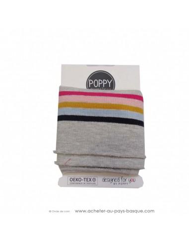 Poignet cheville bord côte gris clair rayures multicolore - confection blouson pantalon - création textile - mercerie biarritz