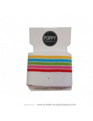 Poignet cheville bord côte blanc rayures multicolore - confection blouson pantalon - création textile - mercerie biarritz