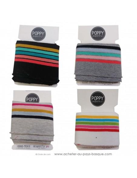 Poignets chevilles bord côte rayure multicolore - confection blouson pantalon - création textile - mercerie biarritz