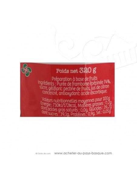 valeur nutritionnelle Préparation de Framboise épépinées Miguelgorry Confiture 320 g - producteur Basque -
