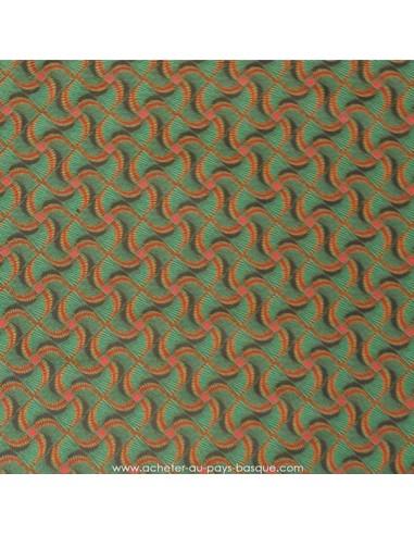 Polyester imprimé africain hélices oranges sur fond vert - rideaux coussins sacs - Tissu Ameublement - Tissus des Docks Biarritz