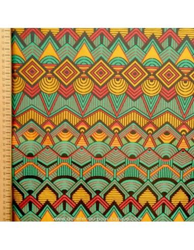 Polyester imprimé africain Bogolan vert jaune - rideaux coussins sacs - Tissu Ameublement - Tissus des Docks Biarritz