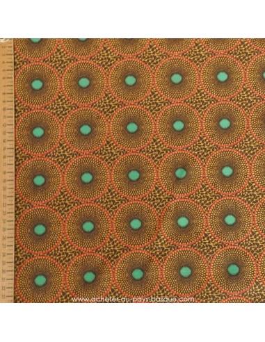 Jacquard fin marron Polyester imprimé disque africain - rideaux coussins sacs - Tissu Ameublement - Tissus des Docks Biarritz