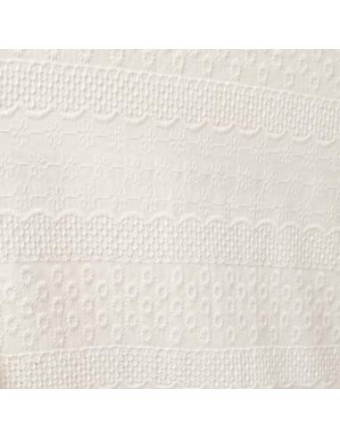 Coton blanc cassé broderie anglaise bande rond et fleur- Tissu habillement vente en ligne - vetement couturiere - Dock Biarritz