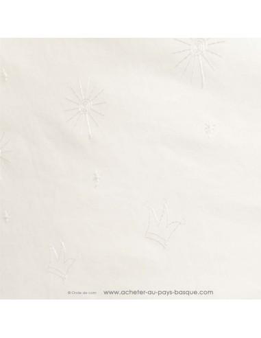 Coton blanc cassé broderie anglaise soleil couronne - Tissu habillement vente en ligne - vetement couturiere - Dock Biarritz