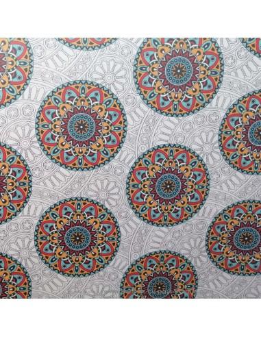 toile d'extérieure 100% polyester traité téflon mandala fond blanc - rideau coussin sac - Tissu Ameublement -