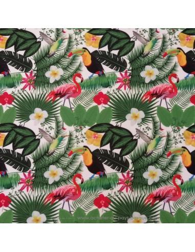 toile d'extérieure 100% polyester traité téflon motifs  tropicaux - rideau coussin sac - Tissu Ameublement - Docks Biarritz