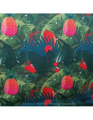 toile d'extérieure 100% polyester traité téflon motifs feuillages et ananas fond vert - Tissu Ameublement - Docks Biarritz