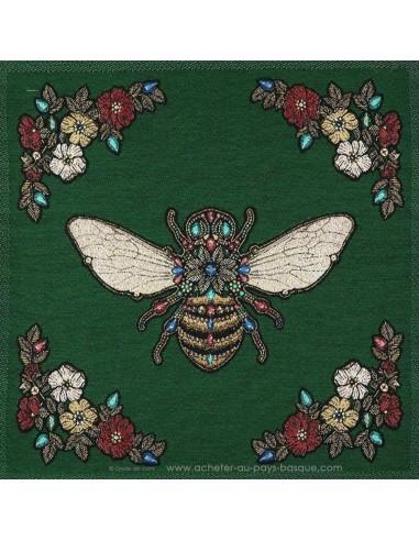 Carré de Jacquard 45cm abeille et fleurs fond vert - coussin sac réfection - Tissu Ameublement - Docks Biarritz