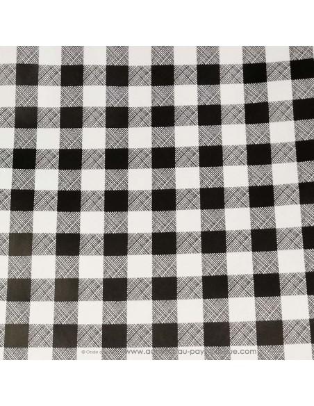 Toile cirée carreaux vichy noir et blanc zoom- Dock Biarritz - acheter nappe basque - art de la table décoration - pays basque