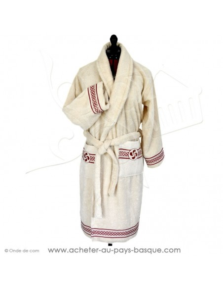 Peignoir écru croix basque au liteau rouge traditionnel, sortie de bain, douche 100 % coton Oeko TEx Zazpinpi