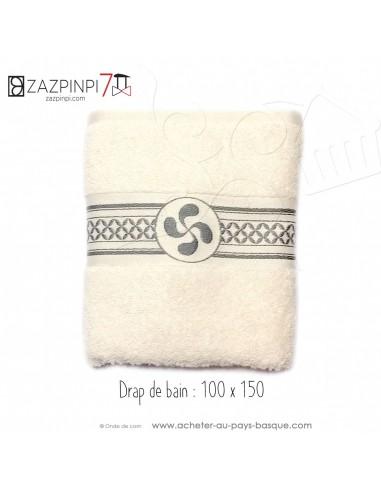 Drap de bain éponge 550 gr écru liteau gris croix Basque rayures 100% coton OEKO TEX 100x150 - ZAZPINPI linge de bain basque