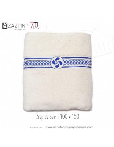 Drap de bain éponge 550 gr écru liteau bleue croix Basque rayures 100% coton OEKO TEX 100x150 - ZAZPINPI linge de bain basque