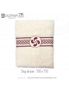 Drap de bain 100x150 éponge 550 gr écru rouge traditionnel rayures croix Basque 100% coton OEKO TEX - ZAZPINPI linge de bain