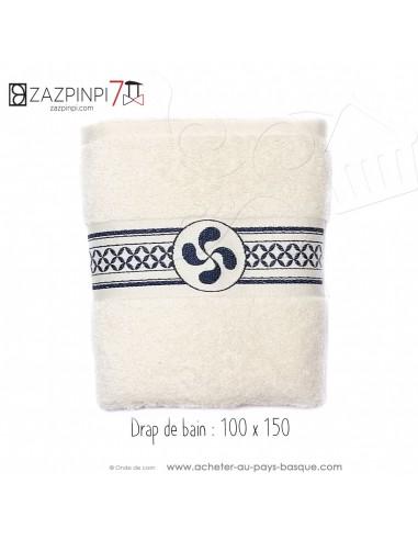 Drap de bain éponge 550 gr écru croix Basque rayures bleu traditionnel 100% coton OEKO TEX 150x100 - ZAZPINPI linge de bain