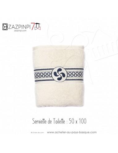 Serviette éponge 550 gr écru croix Basque rayure bleu marine traditionnel 100% coton OEKO TEX 100x50 - ZAZPINPI linge de bain