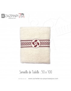Serviette toilette 70x140 éponge 550 gr écru rouge traditionnel rayure croix Basque coton OEKO TEX - ZAZPINPI linge pays basque