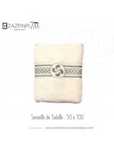 Serviette éponge 550 gr écru liteau gris croix Basque rayures 100% coton OEKO TEX 100x50 - ZAZPINPI linge de bain