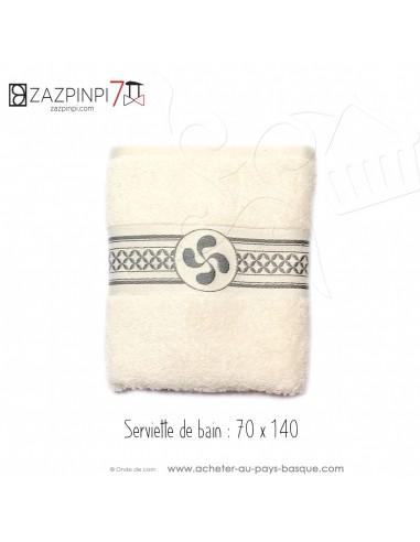 Serviette de bain éponge 550 gr écru liteau gris croix Basque rayures 100% coton OEKO TEX 100x70 - ZAZPINPI linge de bain