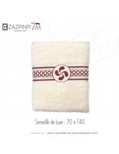 Serviette de bain 70x140 éponge 550 gr écru rouge traditionnel rayures croix Basque 100% coton OEKO TEX - ZAZPINPI linge de bain