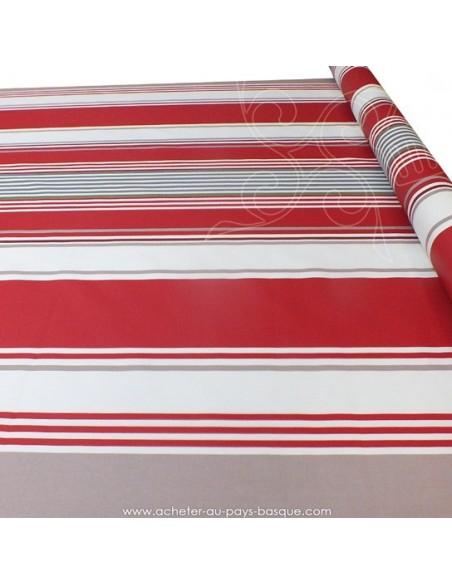 Nappe rayures basques toile enduite blanc rouge gris - acheter nappe basque sur mesure - tissus ameublement biarritz docks