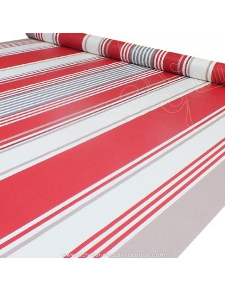 Nappe toile enduite rayures basques rouge blanc gris - acheter nappe basque sur mesure - tissus ameublement biarritz