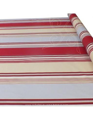 Nappe rayures basques toile enduite beige rouge gris - acheter nappe basque sur mesure - tissus ameublement biarritz docks
