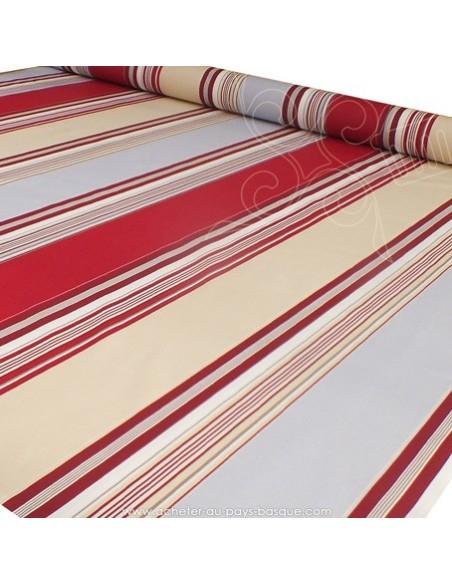 Nappe rayure basque toile enduite rouge gris beige - acheter nappe basque sur mesure - tissu ameublement biarritz docks