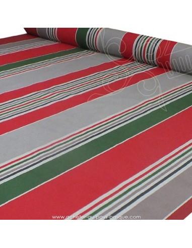 Nappe rayure basque toile enduite vert rouge gris - acheter nappe basque sur mesure - tissu ameublement biarritz docks