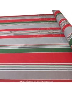Nappe rayures basques toile enduite vertes rouges grises - acheter nappe basque sur mesure - tissus ameublement linge de maison