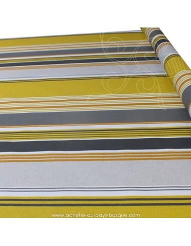 Nappe rayures basques toile enduite moutardes grises blanches - acheter nappe basque sur mesure - tissus ameublement biarritz