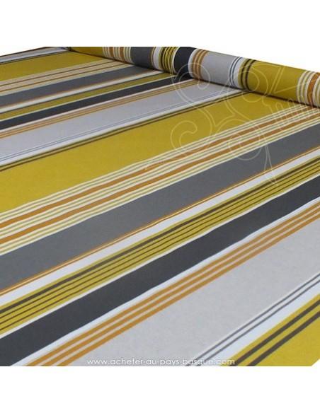 Nappe rayure basque toile enduite moutarde gris blanc - acheter nappe basque sur mesure - tissu ameublement biarritz