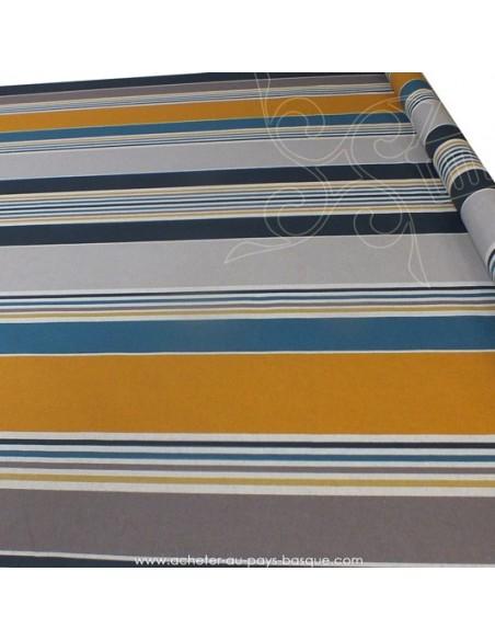 Nappe rayures basques toile enduite Bleu moutarde gris - acheter nappe basque sur mesure - tissus ameublement biarritz docks