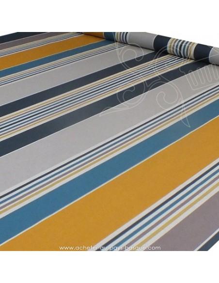 Nappe rayure basque toile enduite Bleu moutarde gris - acheter nappe basque sur mesure - tissu ameublement biarritz