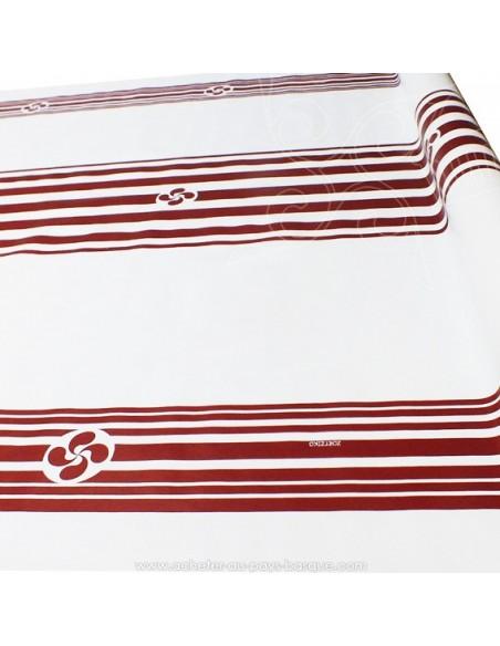 Nappe en Toile cirée rayures croix Basques rouge fond blanc - tissu Docks Biarritz - acheter nappe basque - déco pays basque