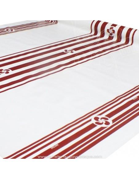 Nappe en Toile cirée rayure croix Basque rouge fond blanc - tissu Docks Biarritz - acheter nappe basque - déco pays basque