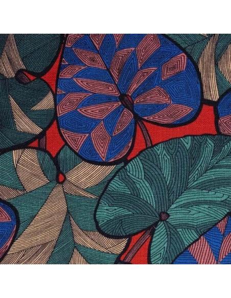 Tissu ameublement lin collection Idriss Thevenon bleu et vert fond brique vendu au mètre - Docks Biarritz vente en ligne