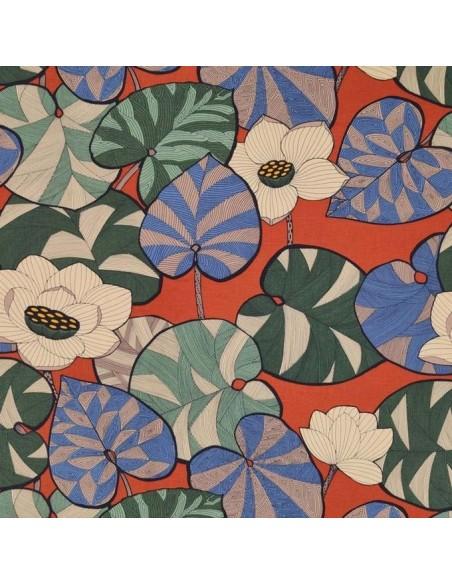 Tissu lin d'ameublement Collection Idriss Thévenon vert et bleu fond brique vendu au mètre - Docks Biarritz vente en ligne